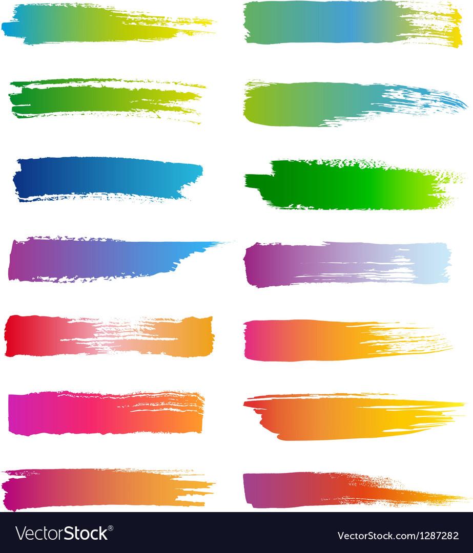 Watercolor brush strokes set Vector Image