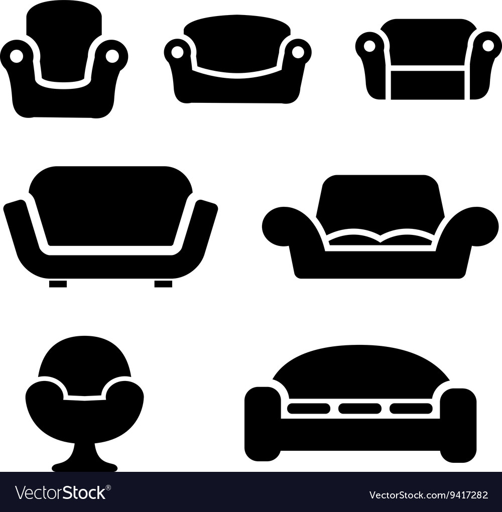 Black sofas and couches icons set vector image