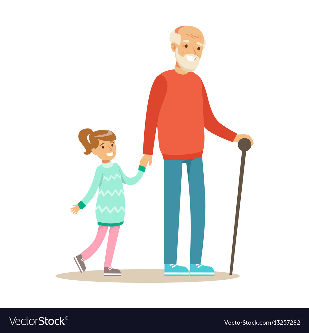 Grandfather and girl walking holding hands part vector image
