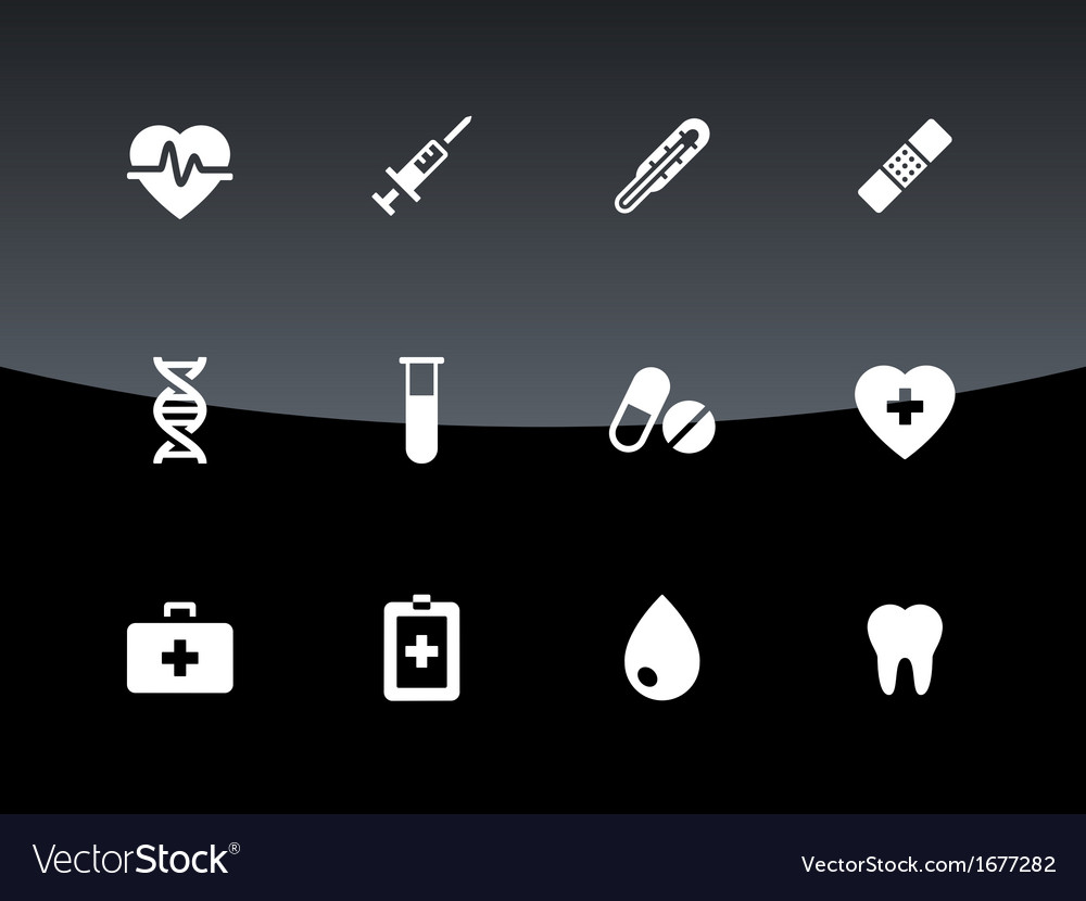 Medical icons on black background vector image