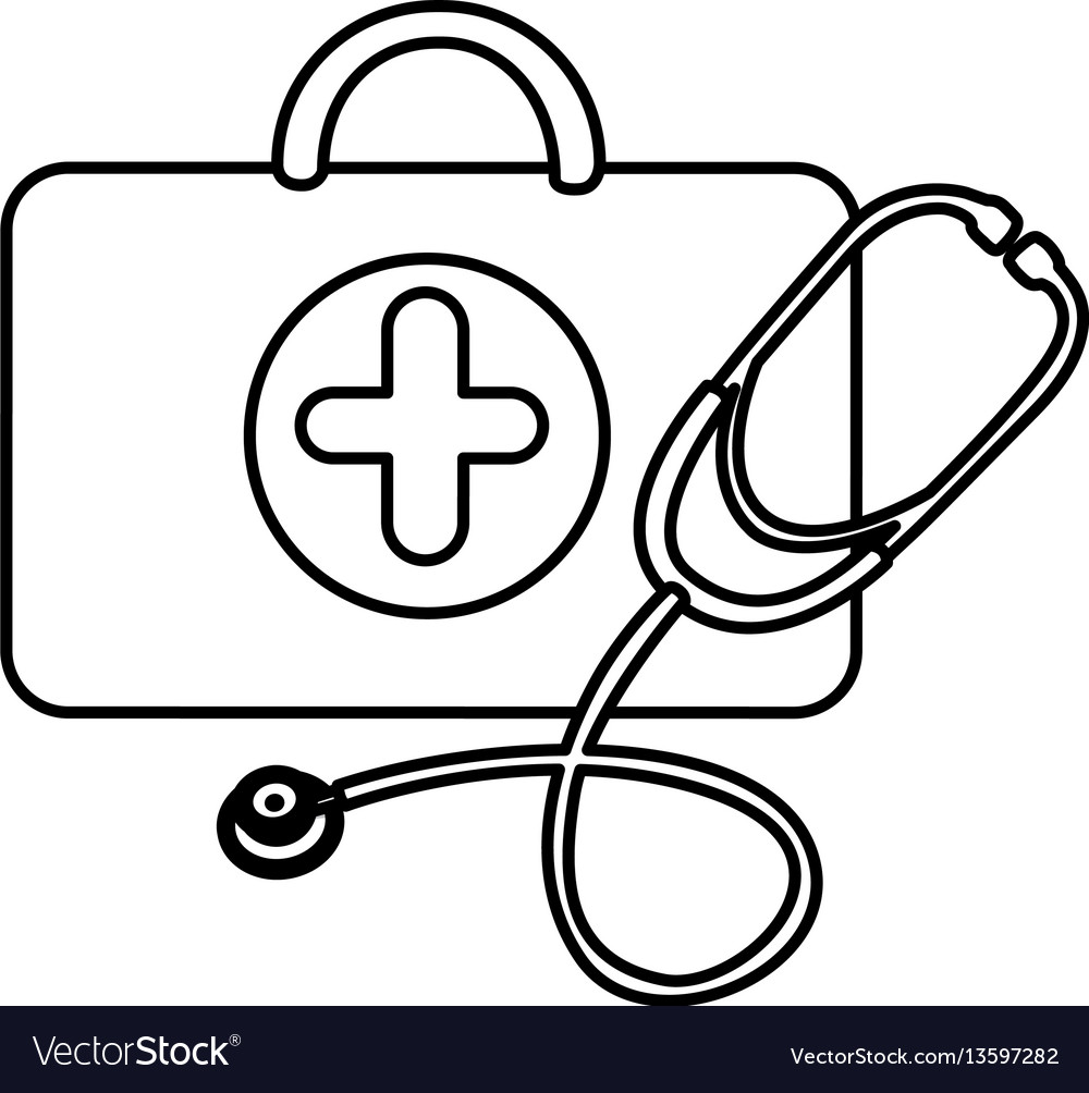Silhouette suitcase health with stethoscope icon vector image