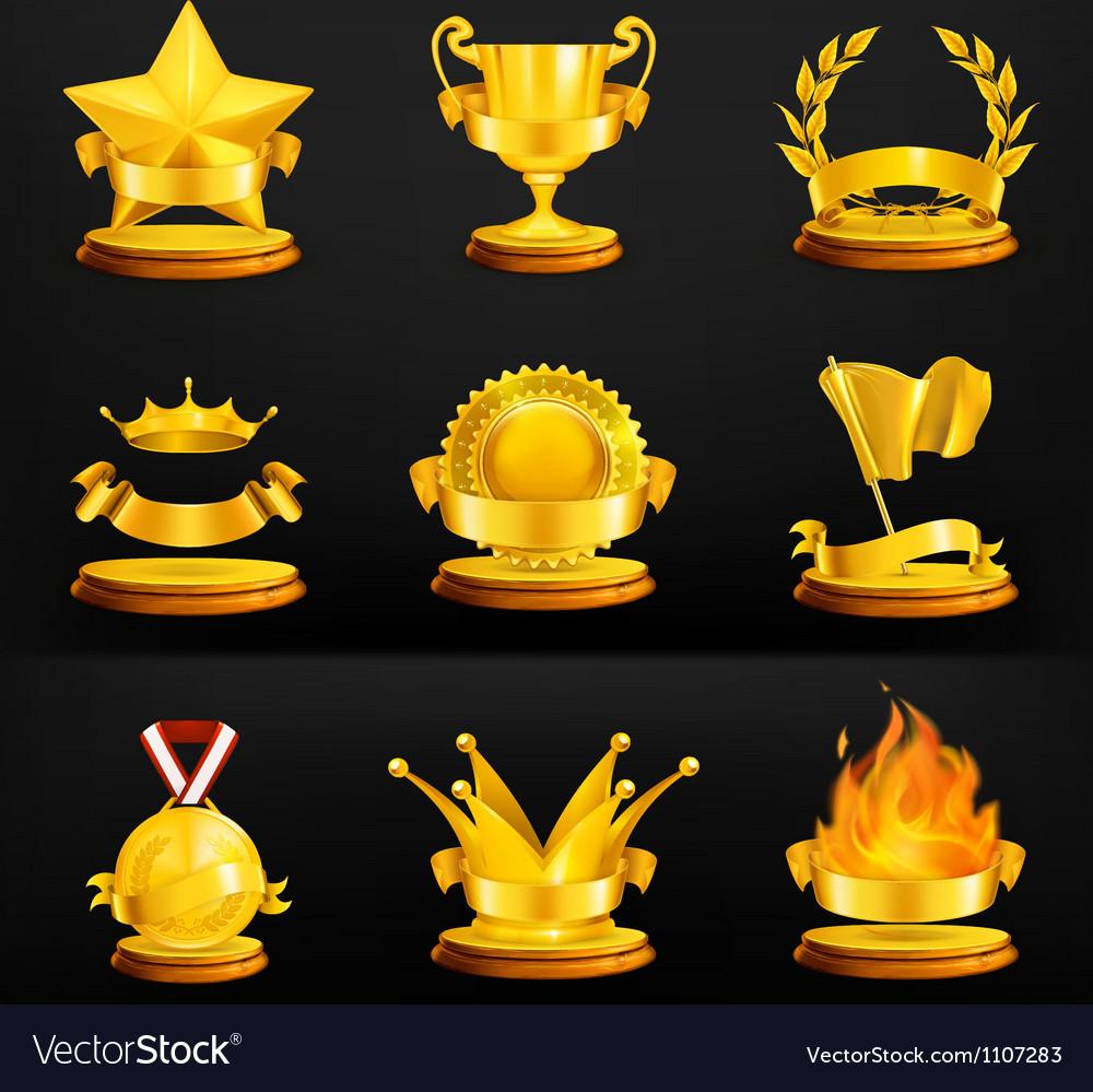 Gold awards set on black vector image