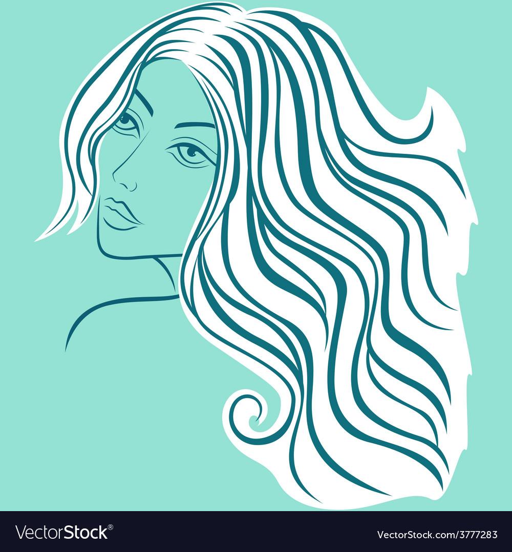 Beautiful blond women sketching head vector image