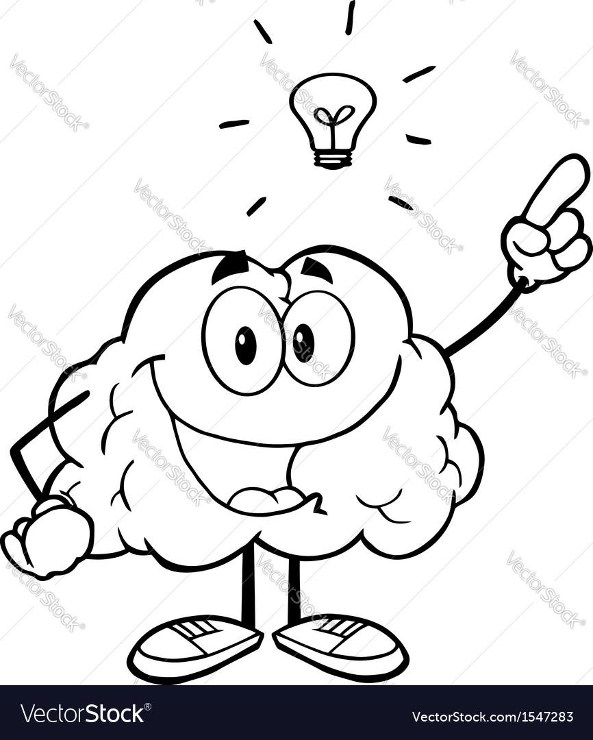 Brain with a lightbulb idea vector image