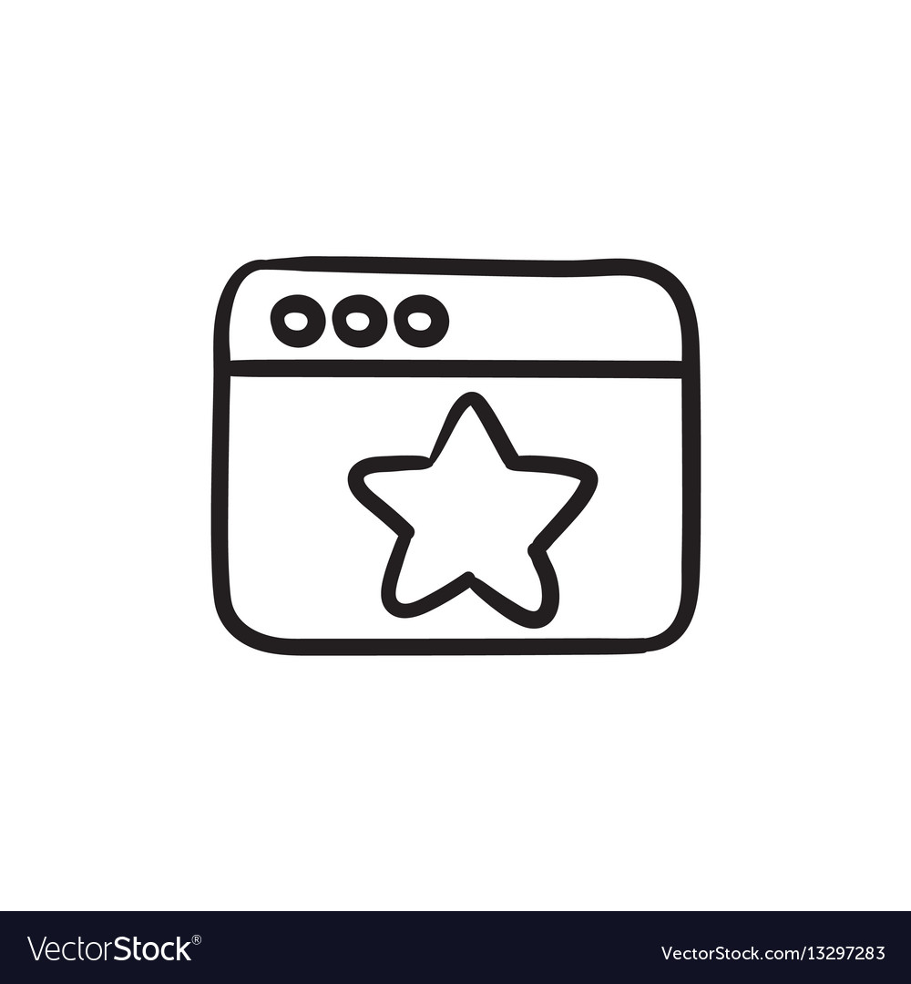 Browser window with star sign sketch icon vector image