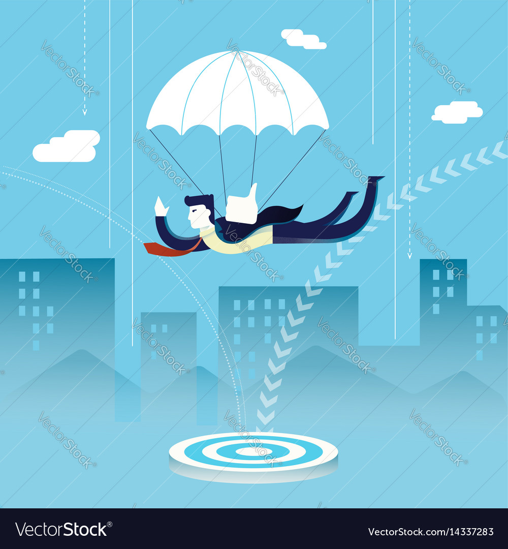 Business man investor skydiving concept vector image