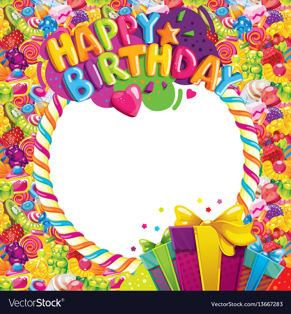 Charmant Happy Birthday Color Frame Vector Image