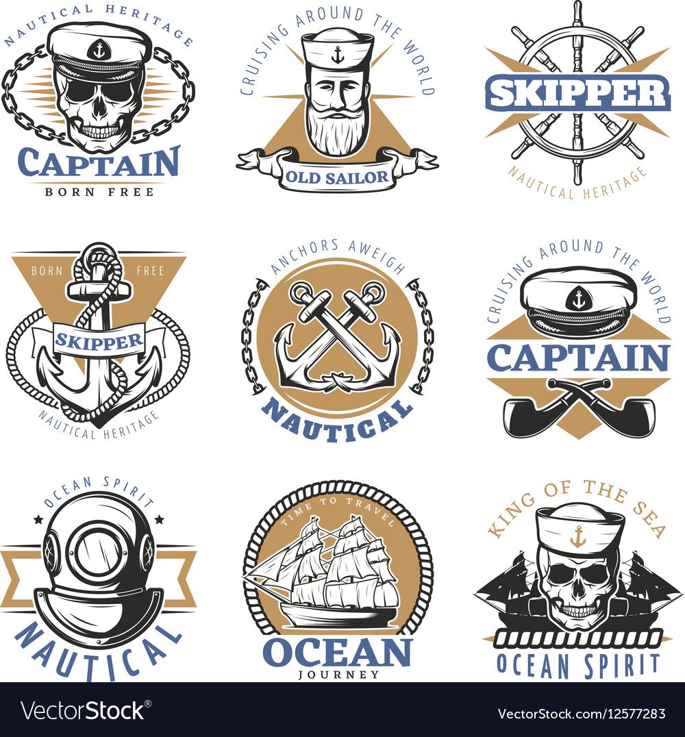 Vintage Sailor Logo Set vector image