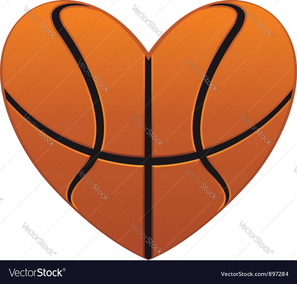Realistic basketball heart vector image