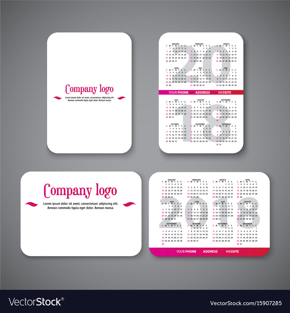 Pocket calendar template vector image