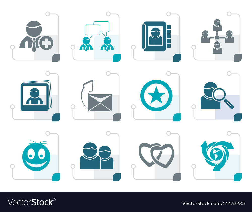 Stylized internet community and social network vector image