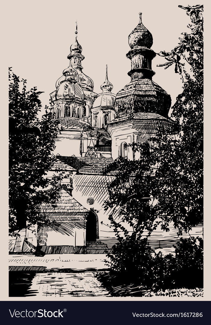 Ukrainian church engraving vector image