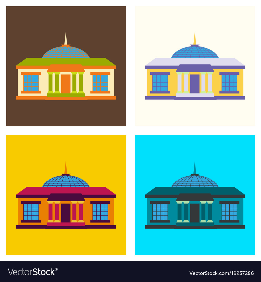 Set of silhouette of the government building on