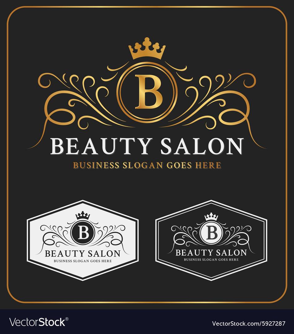Beauty Salon Heraldic Crest Logo Template Design vector image
