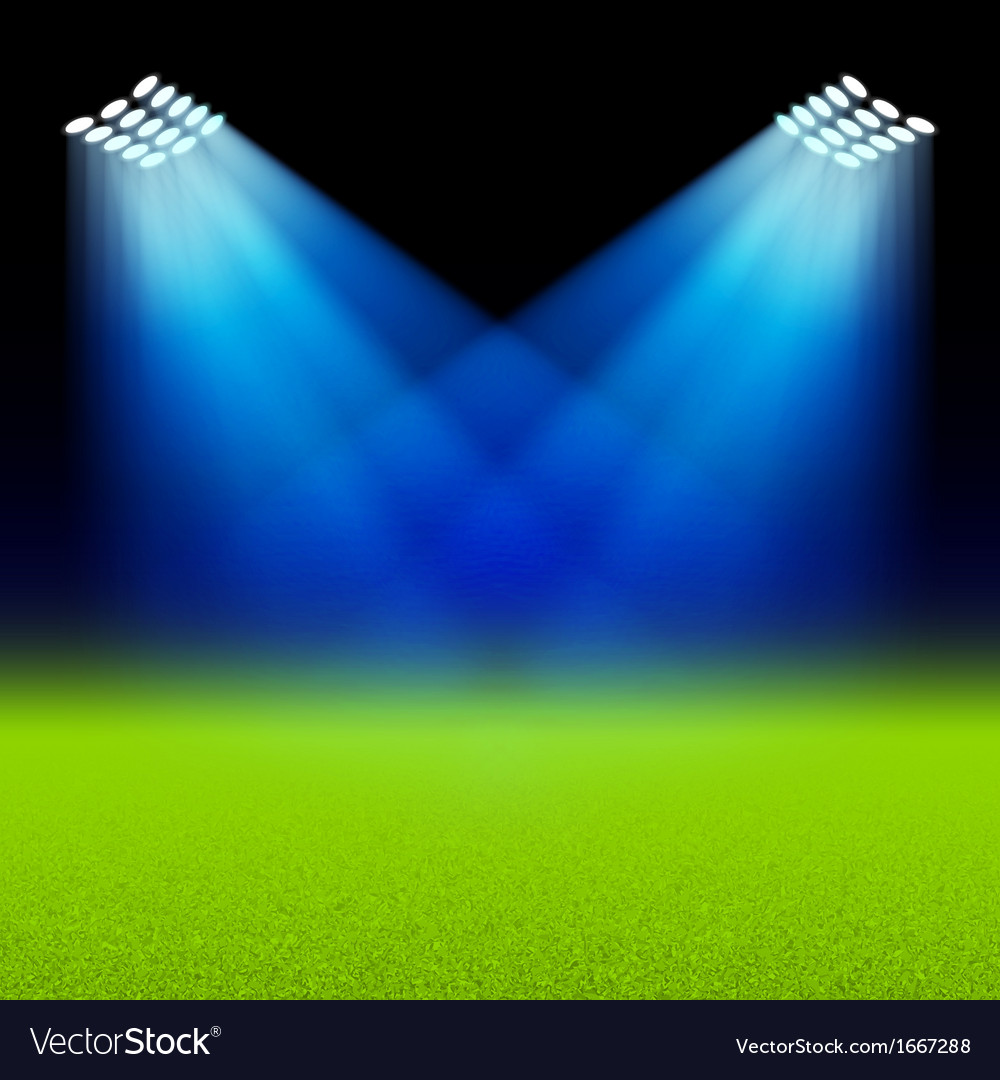 Bright spotlights illuminated green field stadium vector image