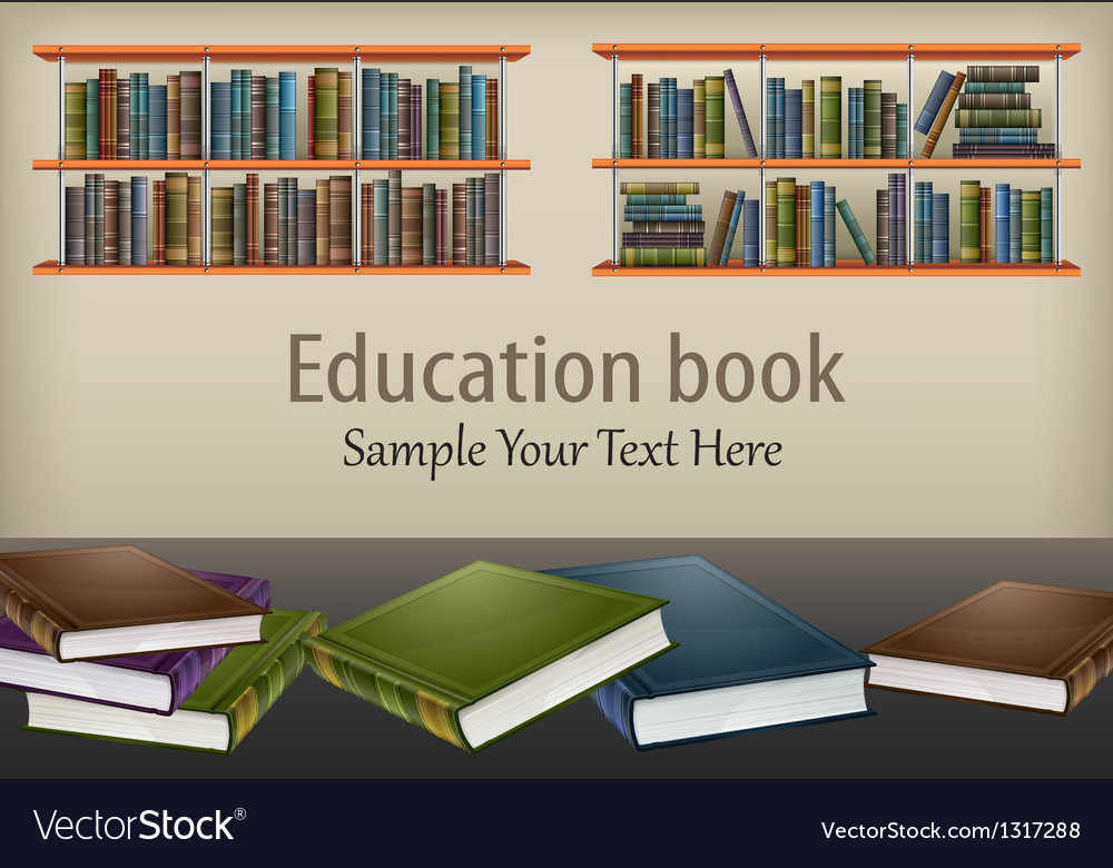 Books on table and shelves vector image