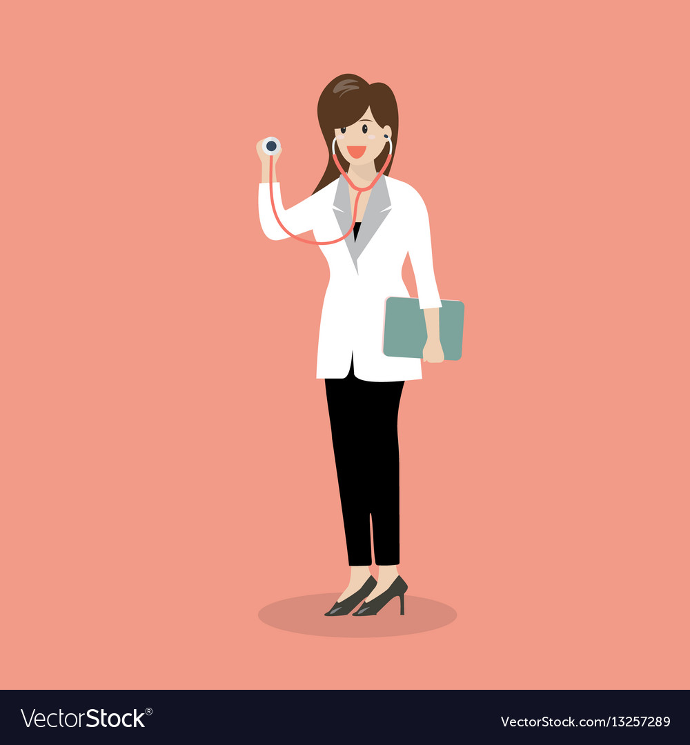 Female doctor holding stethoscope vector image