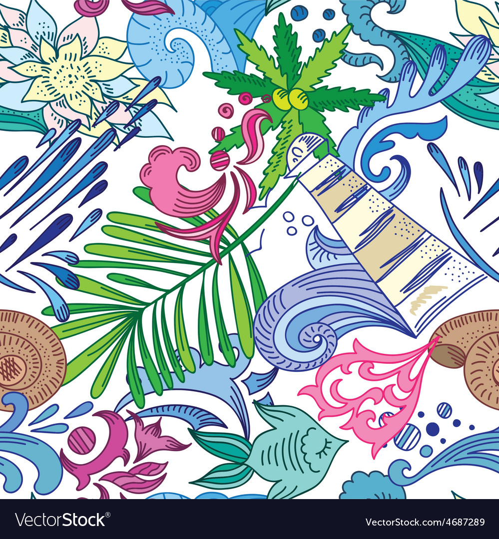 Travel Sea Colorful Pattern vector image