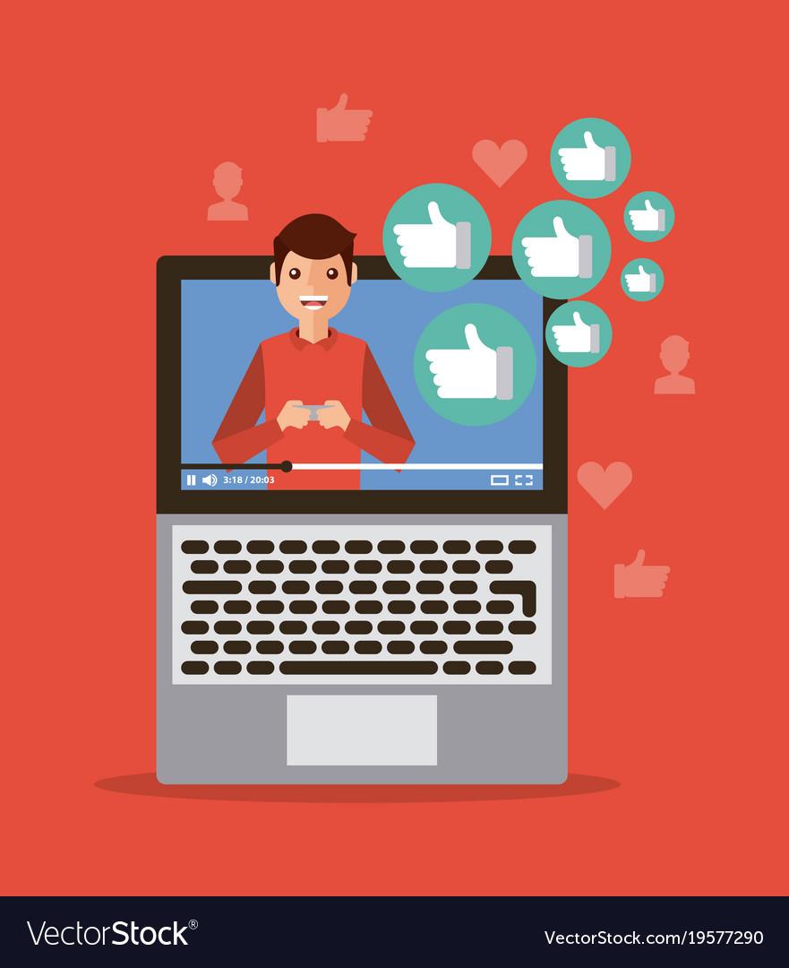 Viral content video influencer laptop digital vector image