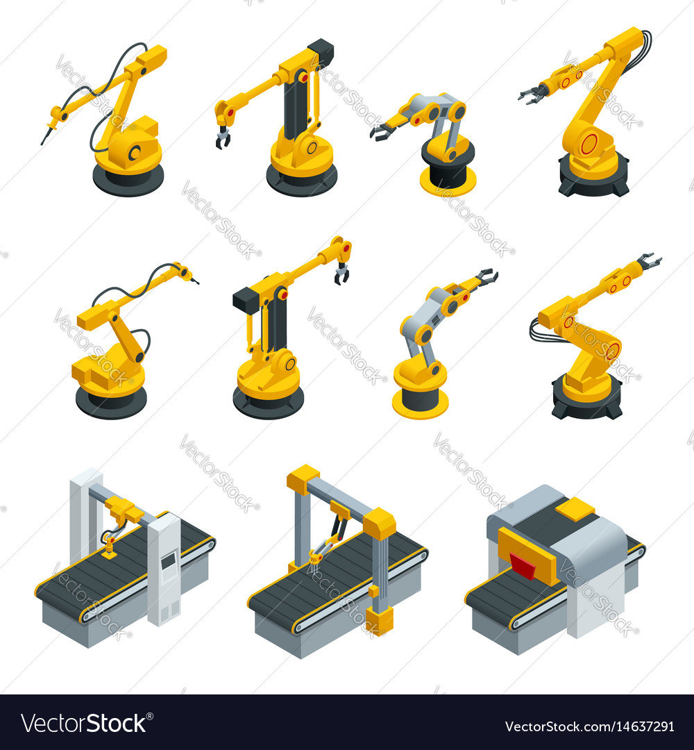 Isometric set of robotic hand machine tool at vector image