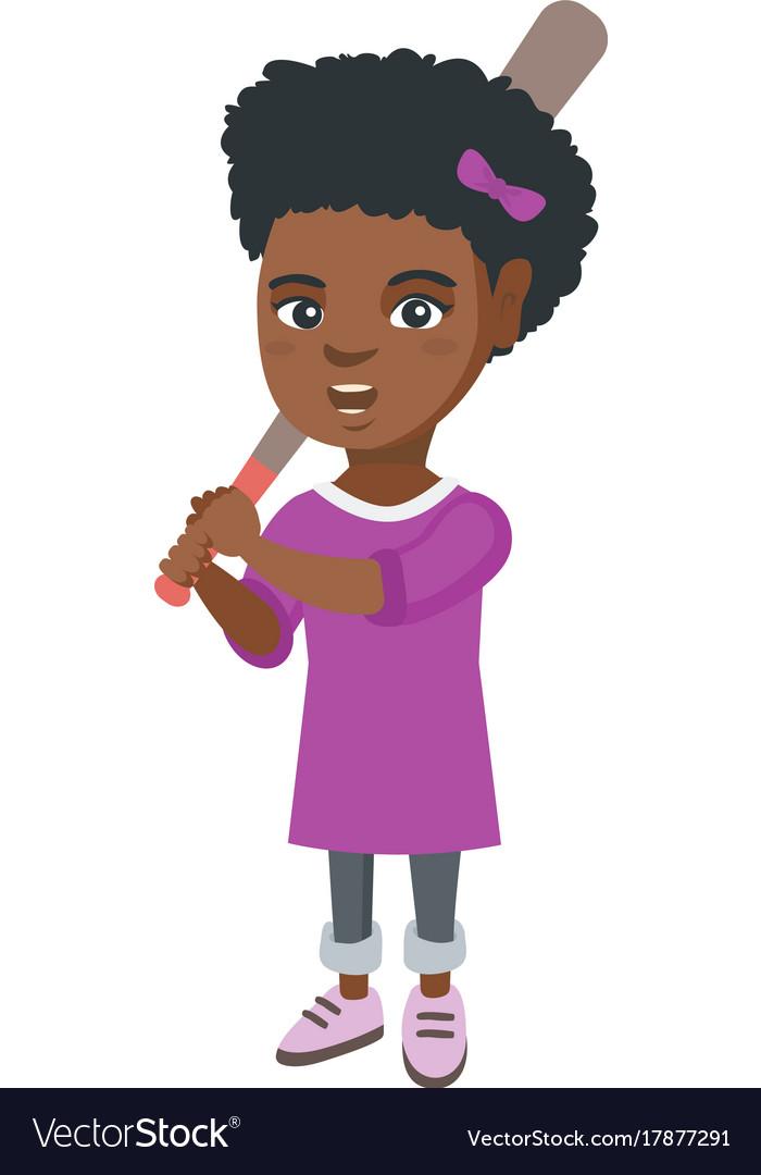Young african-american girl playing baseball vector image