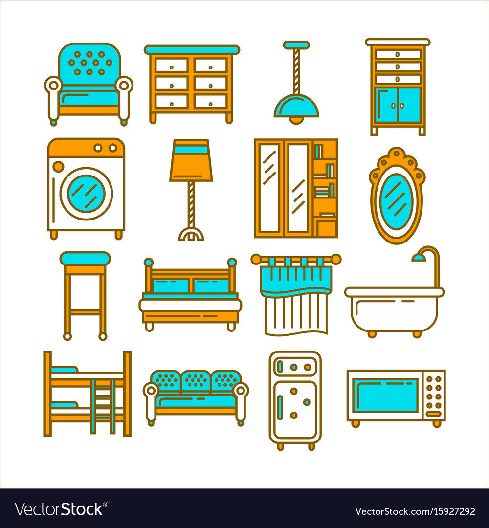 Minimalistic modern convenient furniture isolated vector image