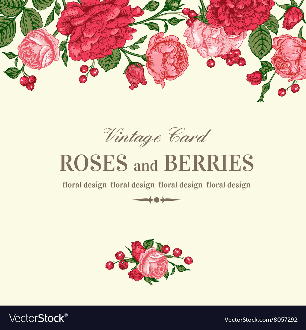 Wedding Invitations With Red Roses: Vintage Wedding Invitation With Pink And Red Roses