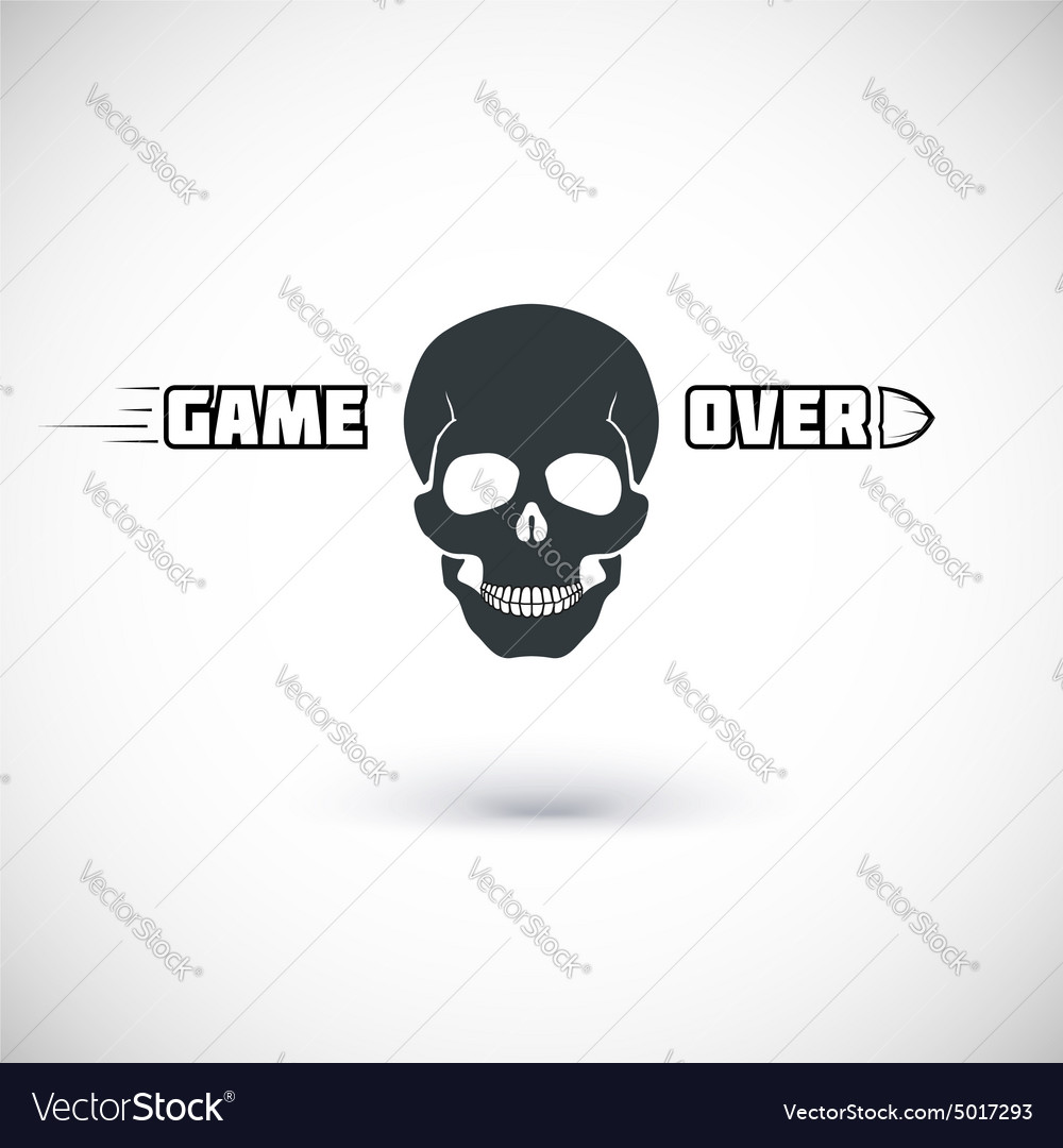 Game over symbol with skull royalty free vector image game over symbol with skull vector image buycottarizona Images