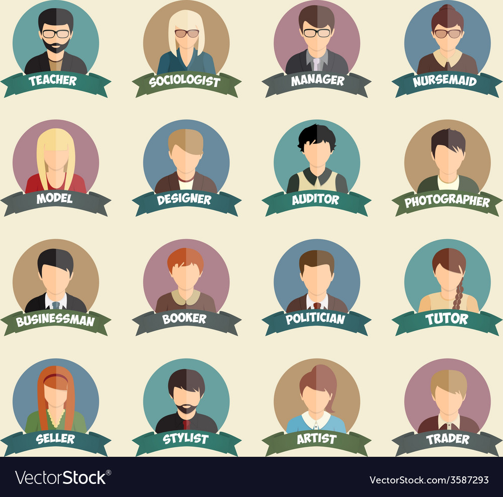 Set of colorful profession people flat style icons vector image