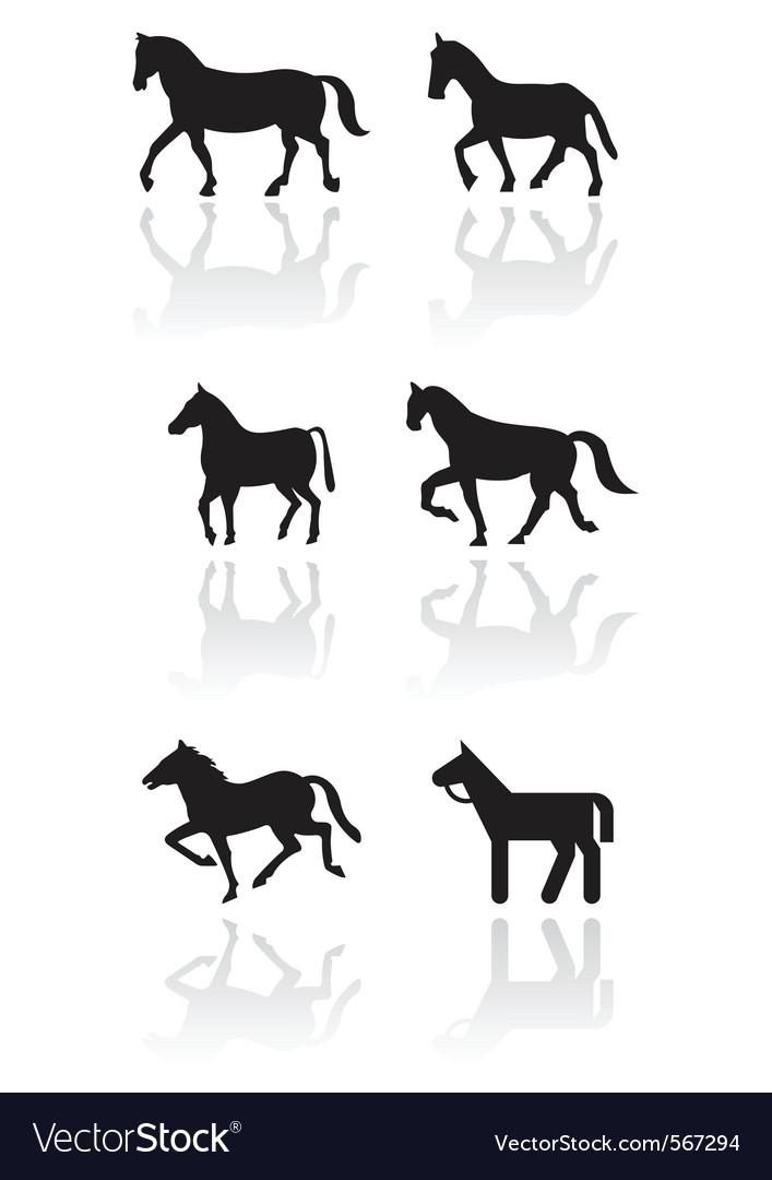 Horse or pony symbol set vector image