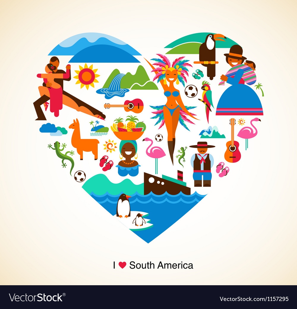 South America love - concept with icons vector image
