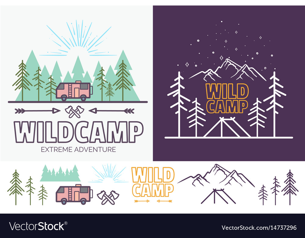 Forest camp linear with tent vector image