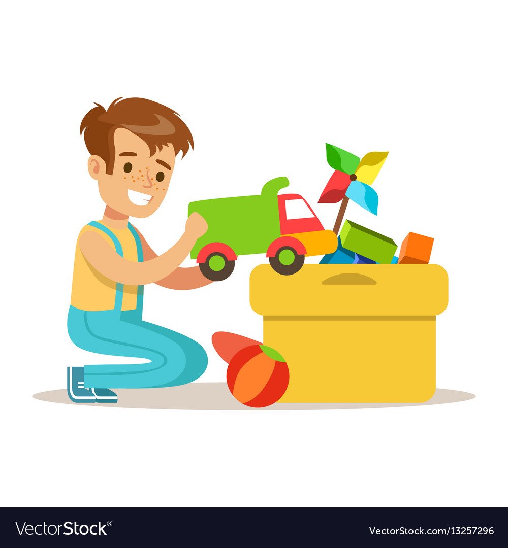 Little boy and many toys in a box part of vector image