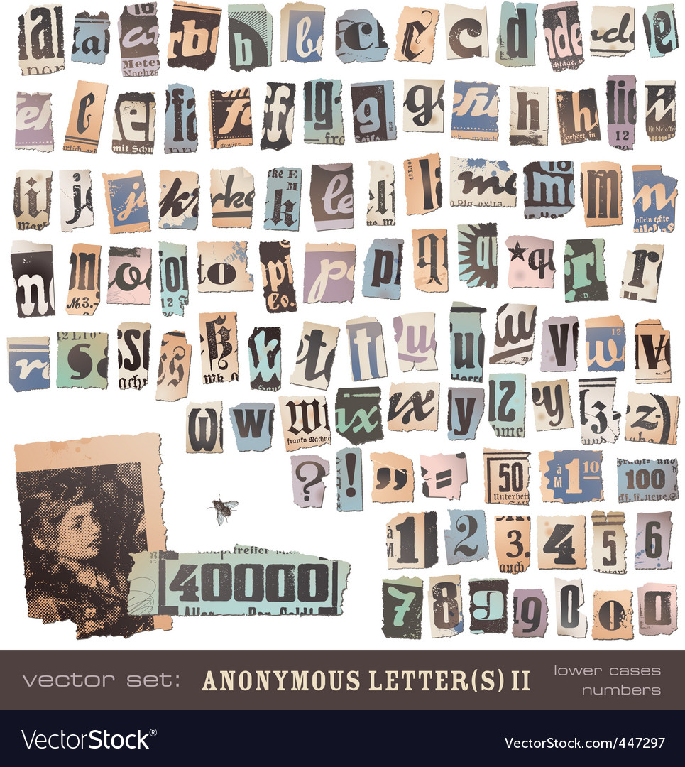 Newspaper alphabet 2 vector image