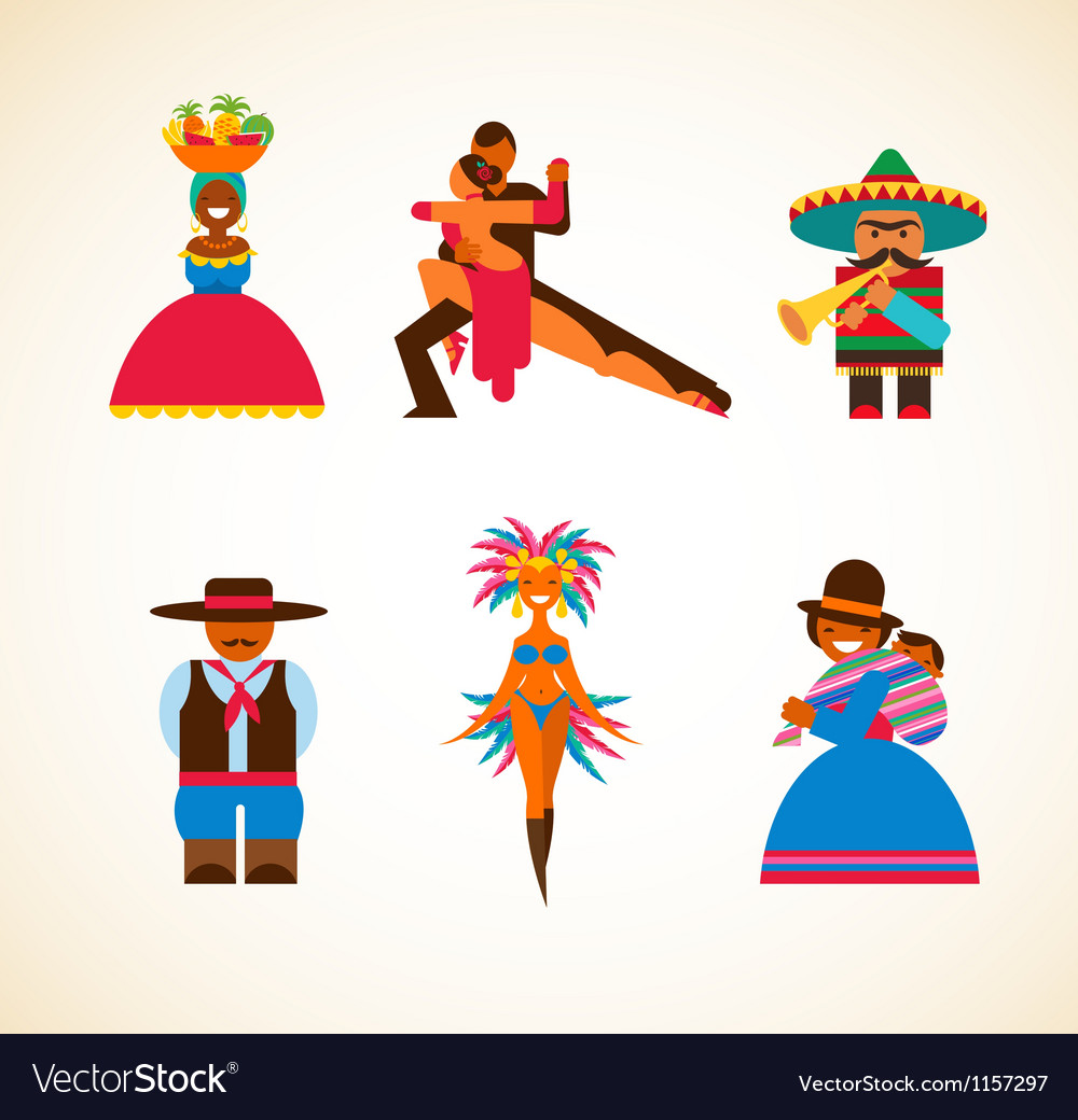 South American people - concept vector image