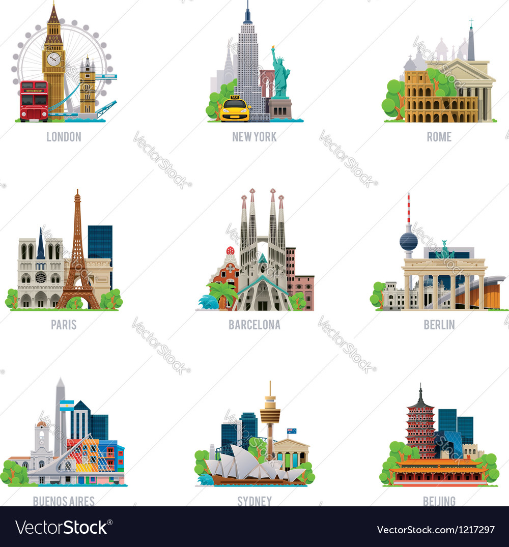Travel destinations icon set vector image