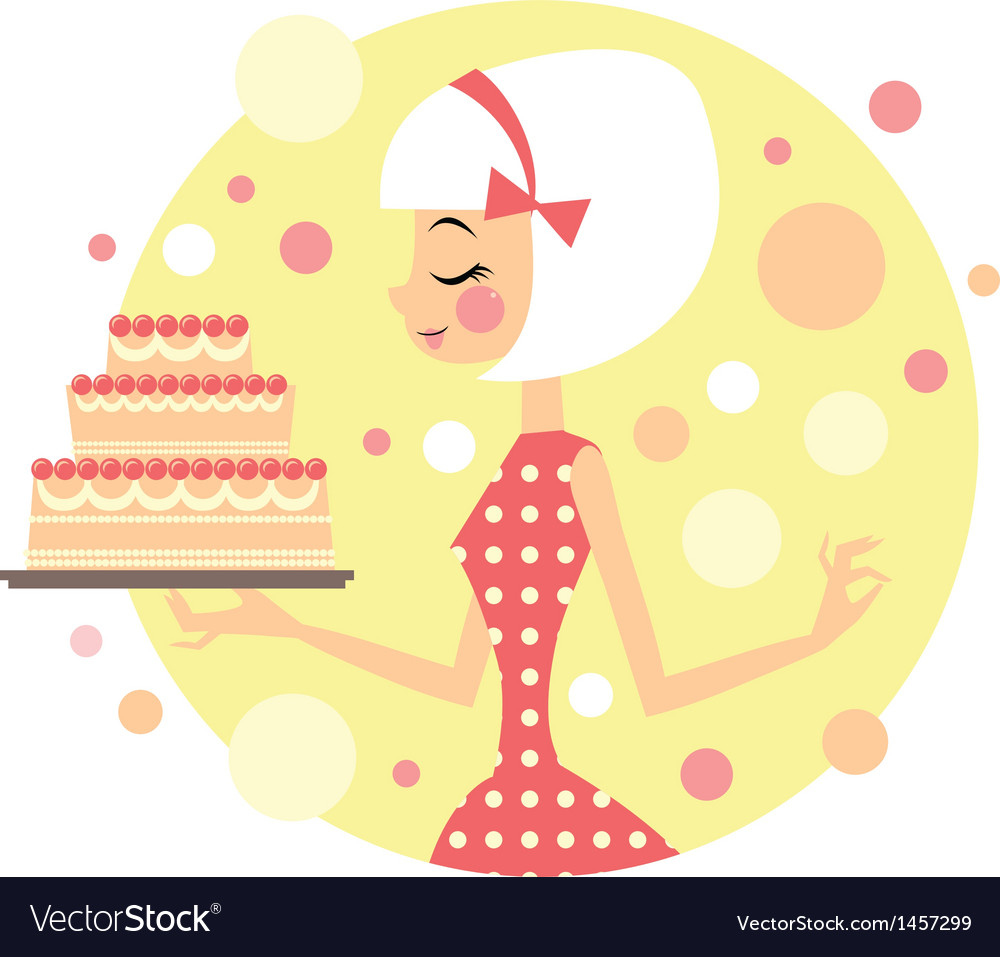 Girl with cake vector image