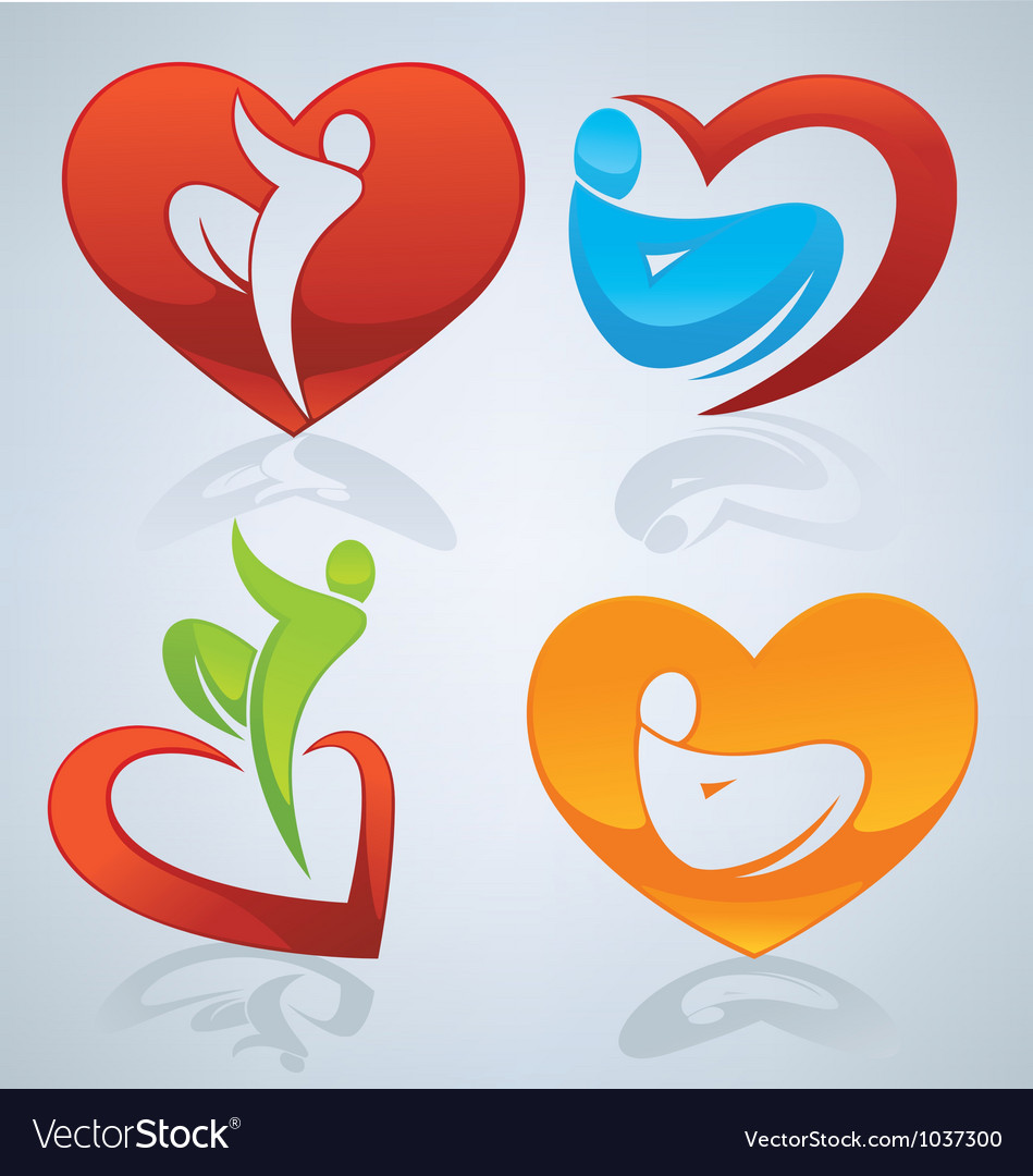 Bright and colorful love men and hearts vector image