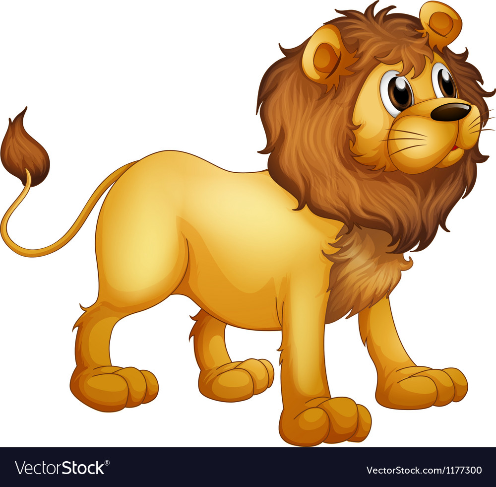cartoon strong lion royalty free vector image vectorstock