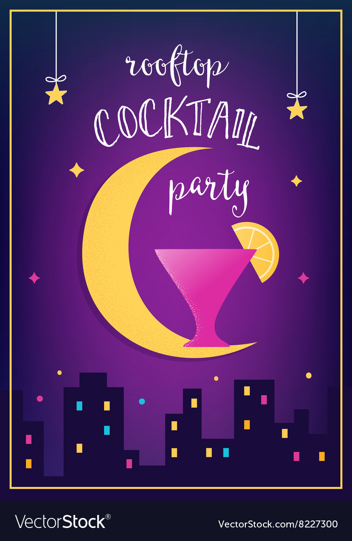 Rooftop Cocktail Party Invitation Card vector image