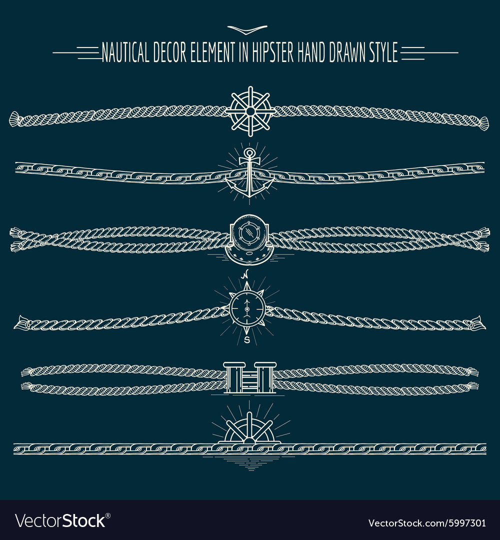 Hipster Style Nautical Decor Set vector image