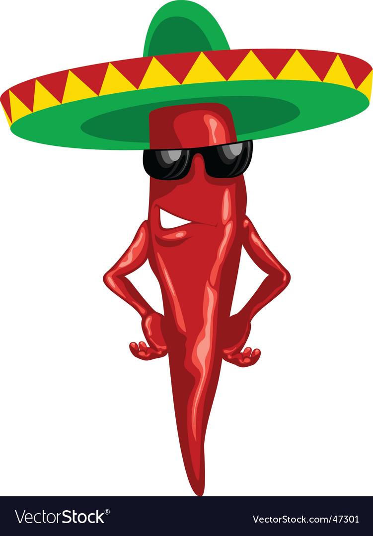 Hot Mexican chili green sombrero vector image