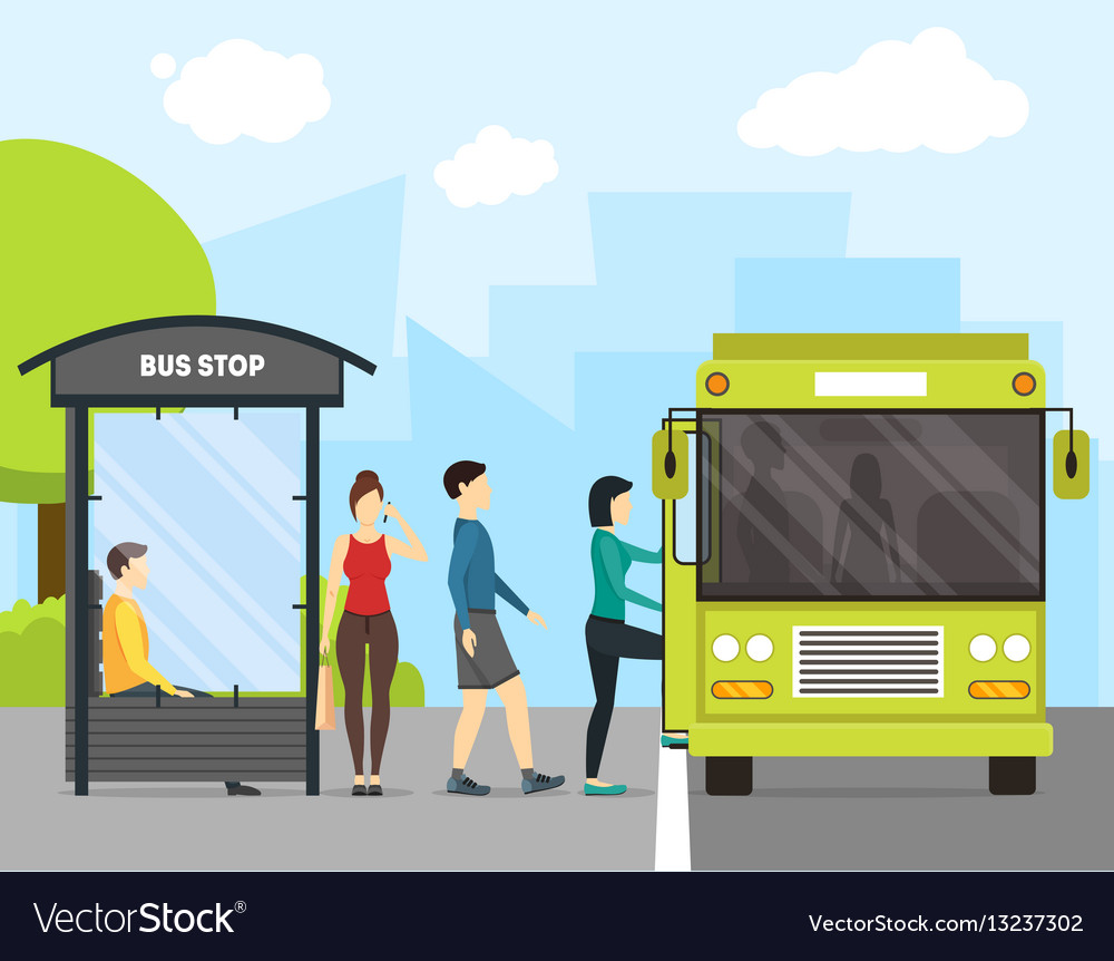 Cartoon bus stop with transport and people vector image