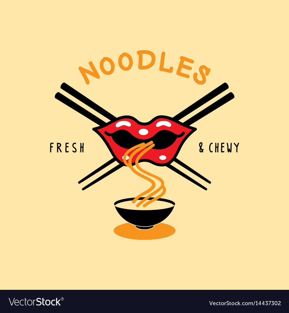 Fresh and chewy noodle logo with mouth eat noodle vector image