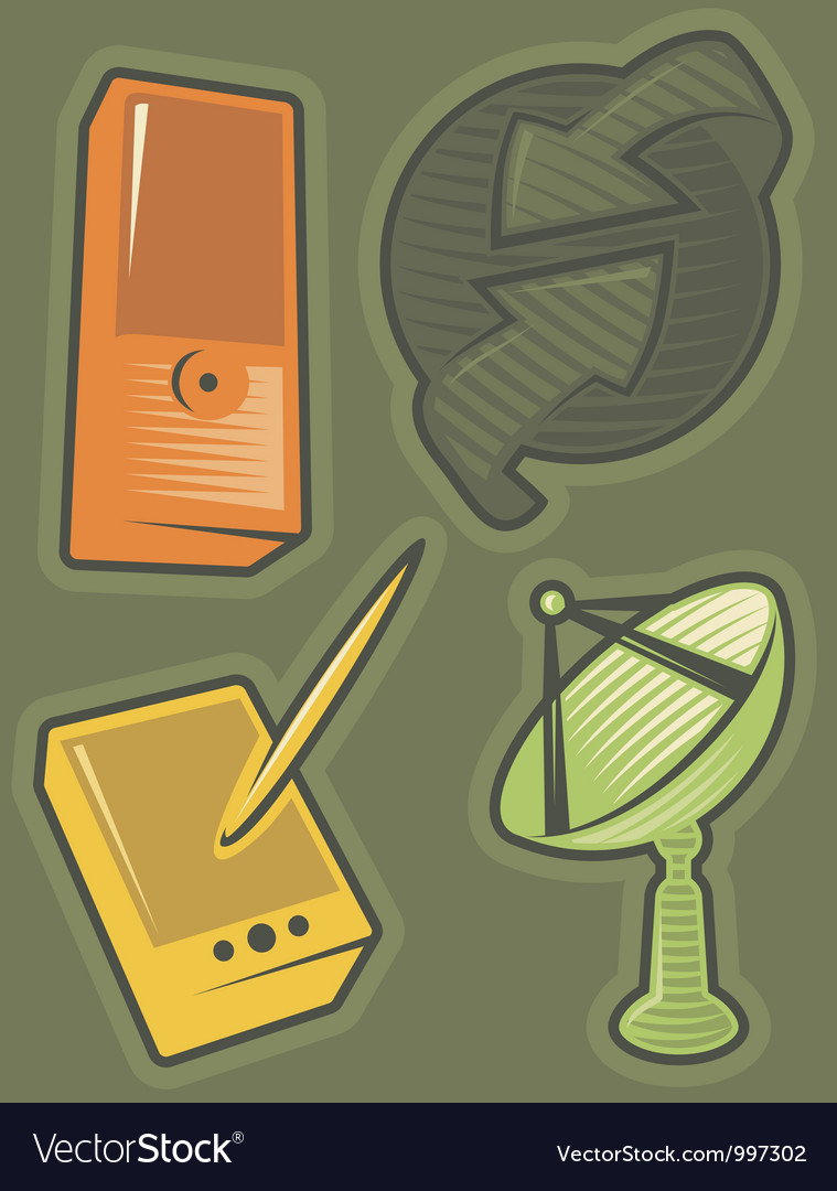 Green icons for communications vector image