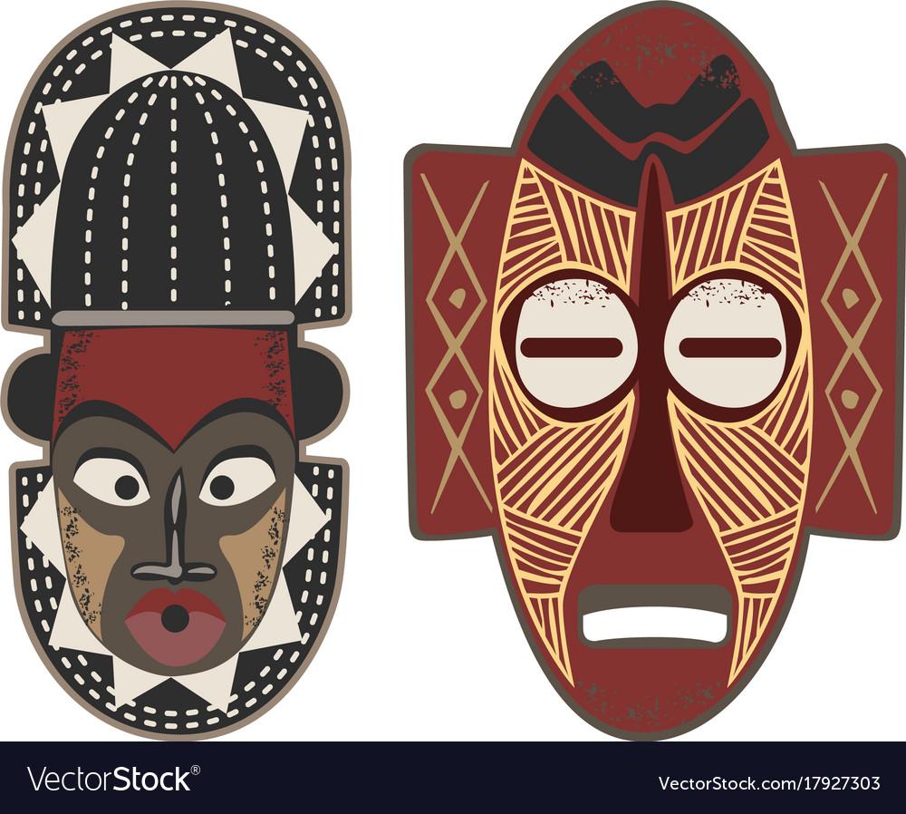 African-masks-4-5 vector image