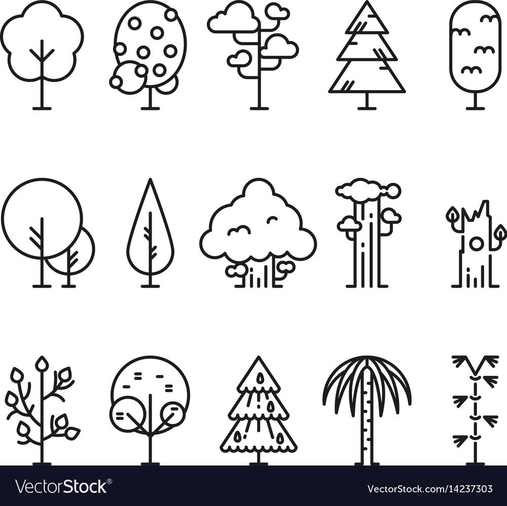 Primitive simple contour line trees nature plants vector image