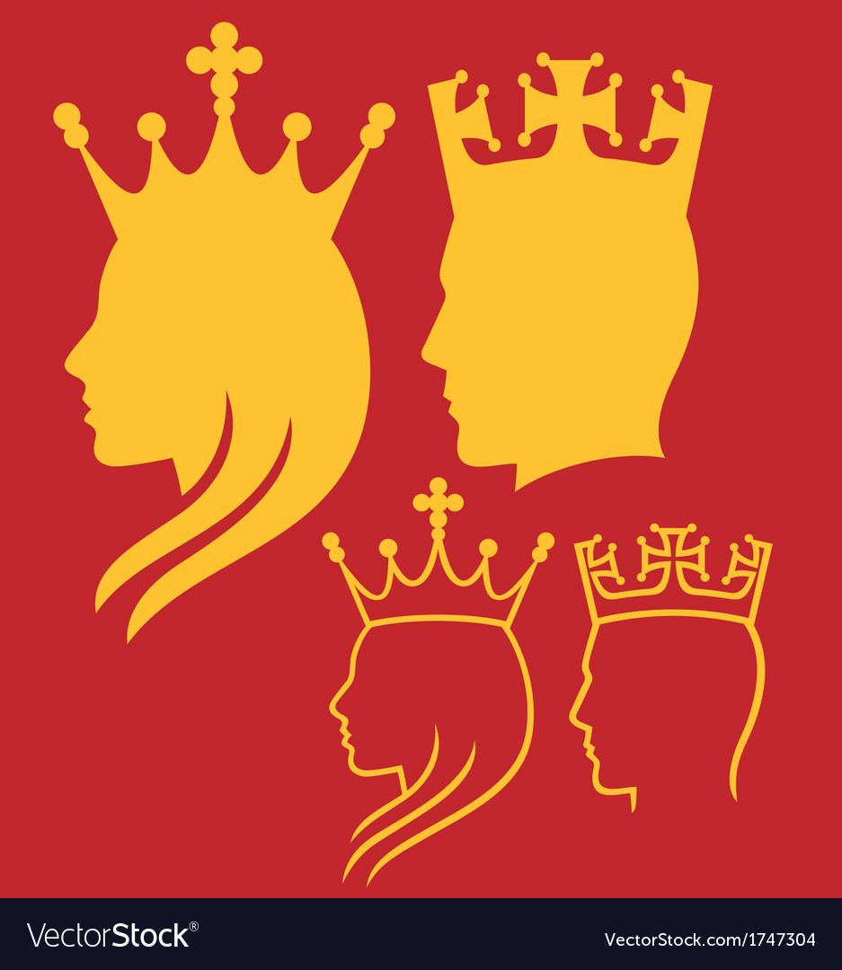King and queen heads vector image