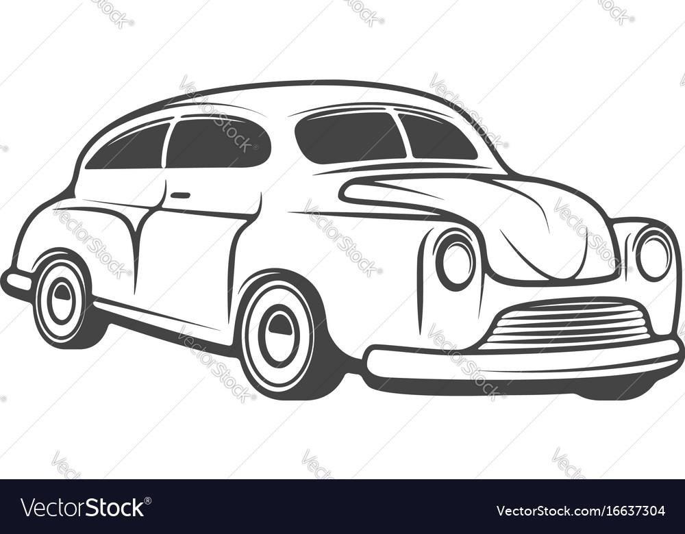 Retro car isolated on white background design vector image