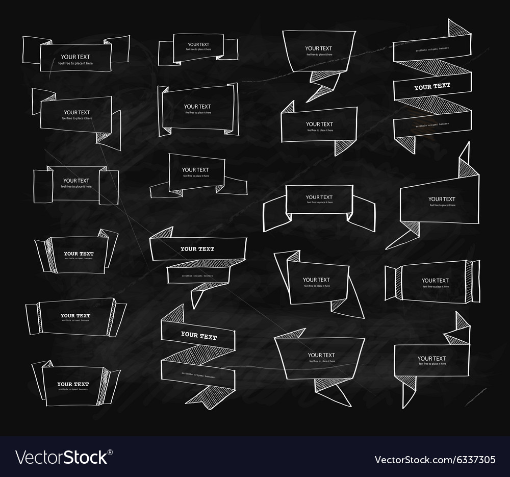 Big chalk retro origami banners set vector image